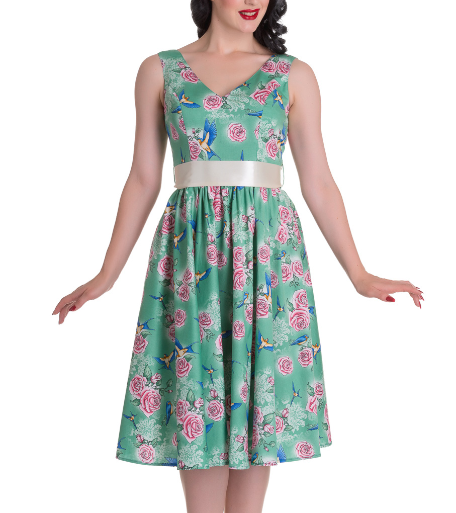 HELL-BUNNY-Summer-50s-Dress-LACEY-Birds-Roses-Green-All-Sizes thumbnail 3