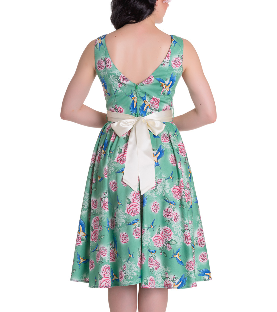 HELL-BUNNY-Summer-50s-Dress-LACEY-Birds-Roses-Green-All-Sizes thumbnail 5