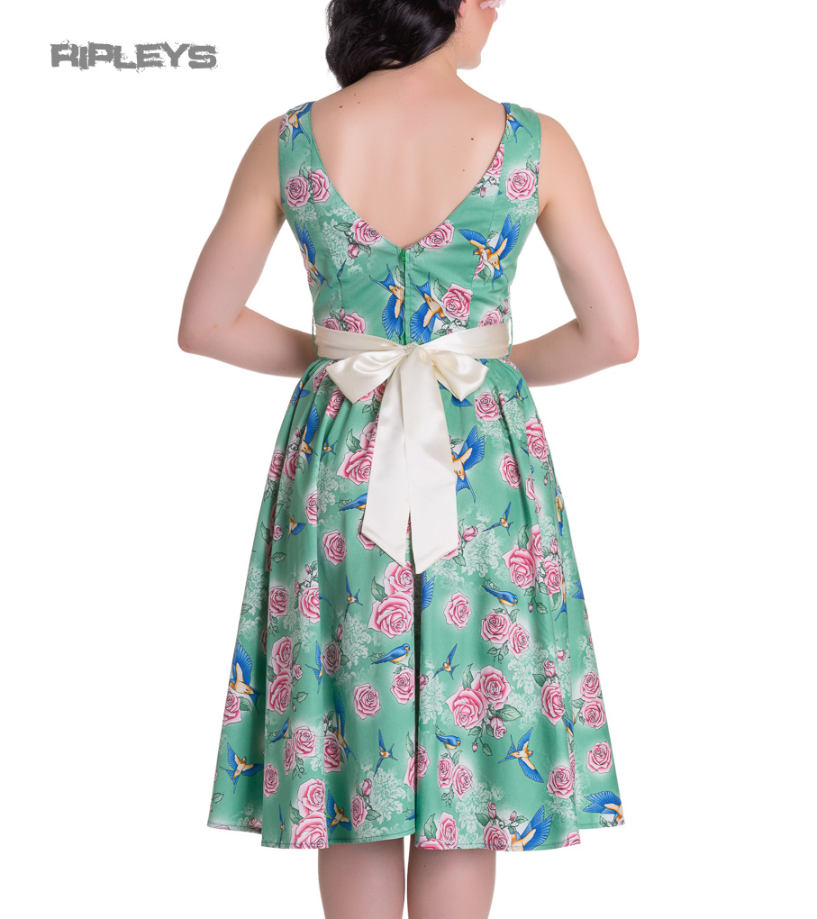 HELL-BUNNY-Summer-50s-Dress-LACEY-Birds-Roses-Green-All-Sizes thumbnail 4