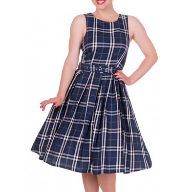 Dolly and Dotty ANNIE Retro 50s Dress Swing   Navy Blue Check All Sizes