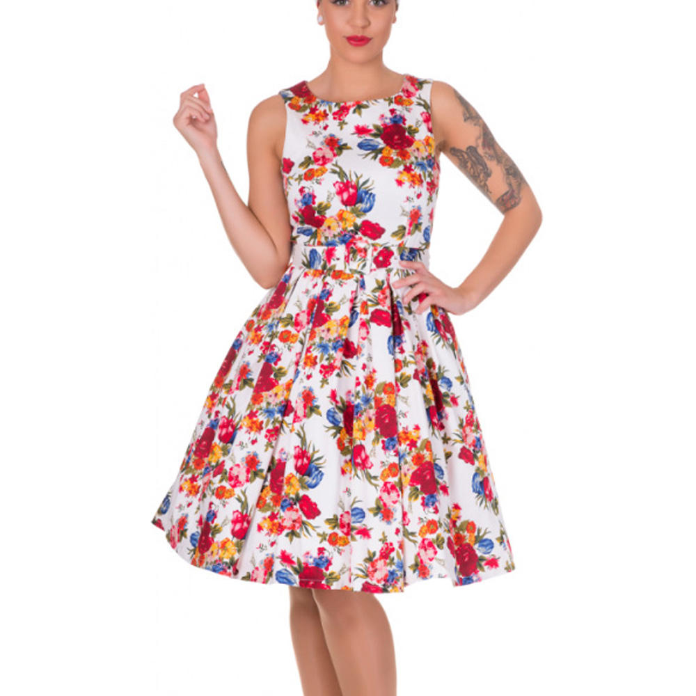 845ef3ca5e Dolly and Dotty ANNIE Retro 50s Dress Swing White Floral Flowers All Sizes