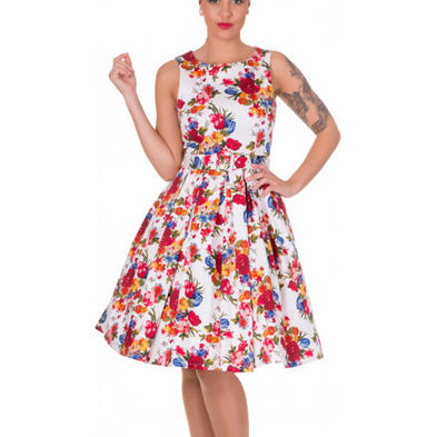 Dolly and Dotty ANNIE Retro 50s Dress Swing   White Floral Flowers All Sizes