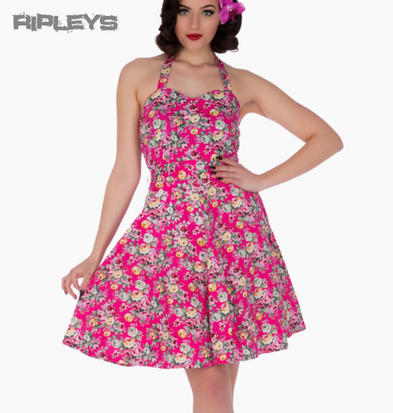 Dolly and Dotty CYNTHIA Vintage Dress   Hot Pink Flowers Floral All Sizes