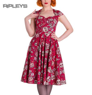 HELL BUNNY Pinup 50s Dress SASHA Love Skull Sugar   Red All Sizes