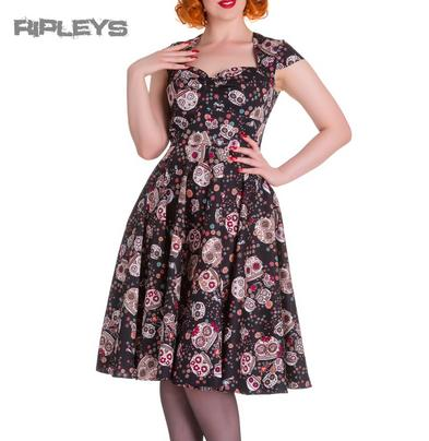 HELL BUNNY Pinup 50s Dress SASHA Love Skull Sugar   Black All Sizes