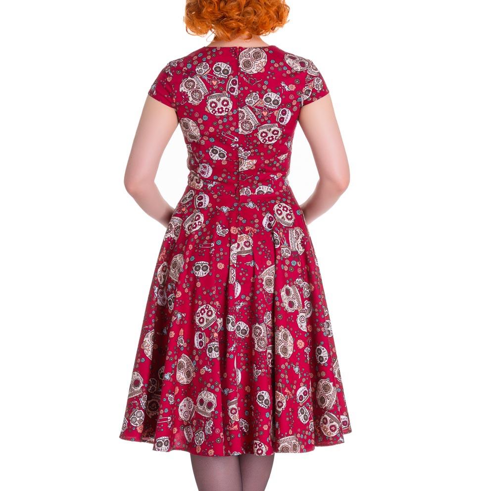HELL-BUNNY-Pinup-50s-Dress-SASHA-Love-Skull-Sugar-Red-All-Sizes thumbnail 5