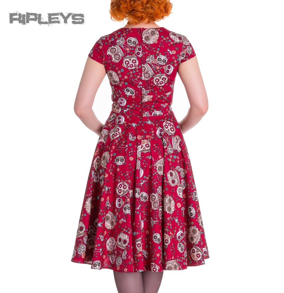 HELL-BUNNY-Pinup-50s-Dress-SASHA-Love-Skull-Sugar-Red-All-Sizes thumbnail 4