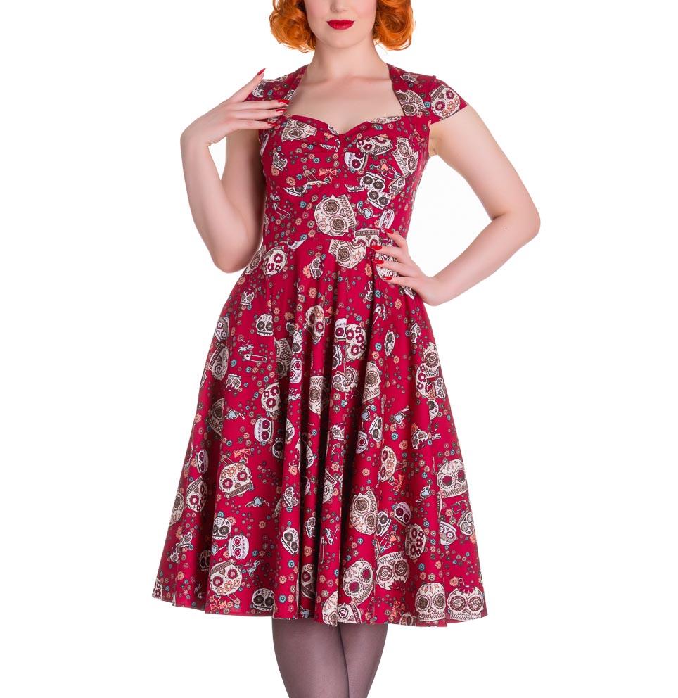 HELL-BUNNY-Pinup-50s-Dress-SASHA-Love-Skull-Sugar-Red-All-Sizes thumbnail 3