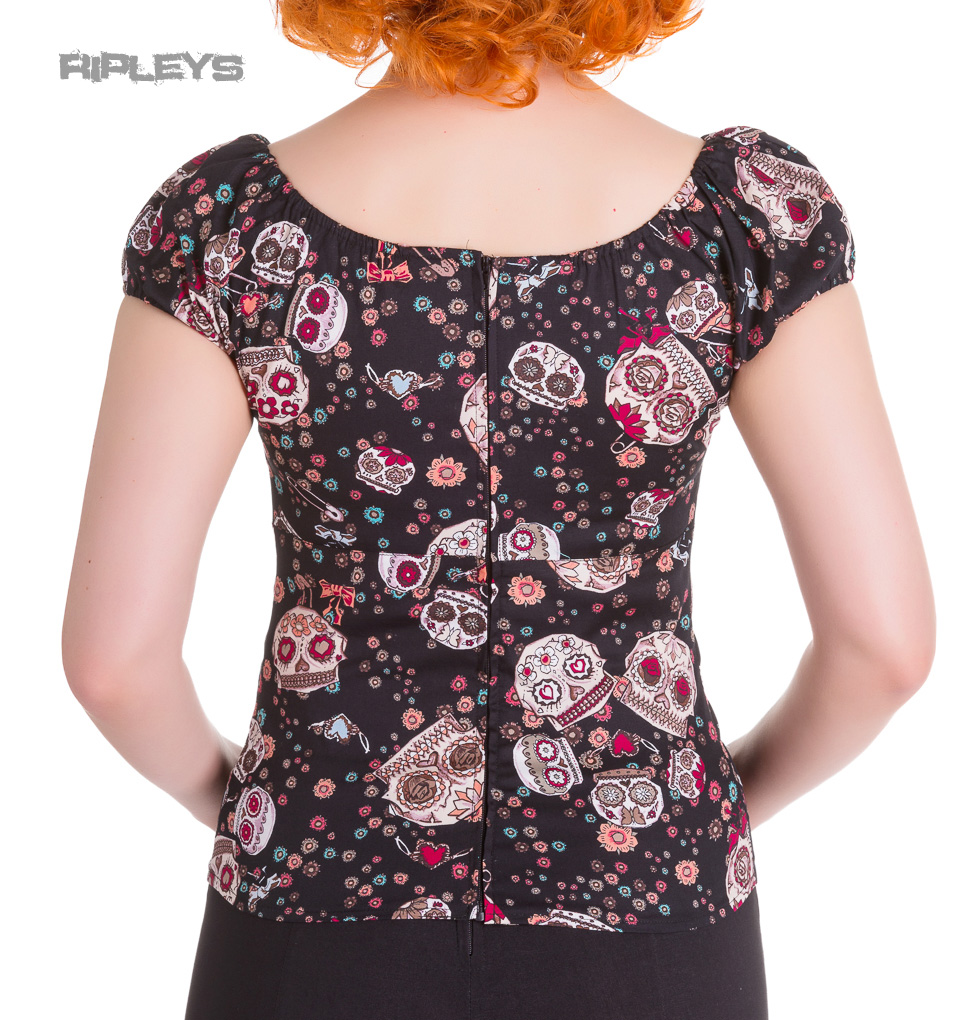 HELL-BUNNY-Shirt-Gypsy-Top-Sugar-SKULL-LOVE-Flowers-Black-All-Sizes thumbnail 4