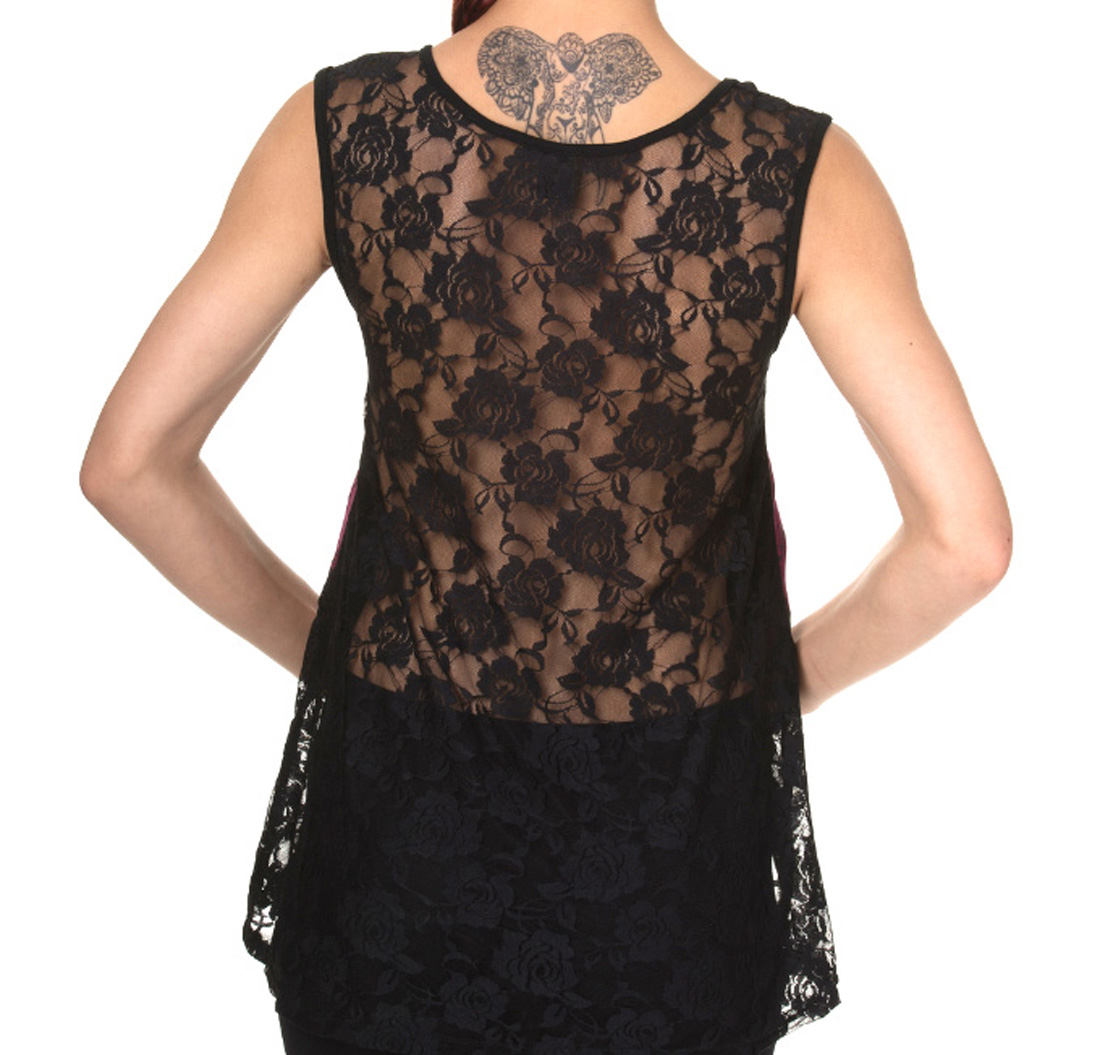BANNED-Goth-Oversized-Vest-Top-BUTTERFLY-Bones-Purple-All-Sizes thumbnail 13