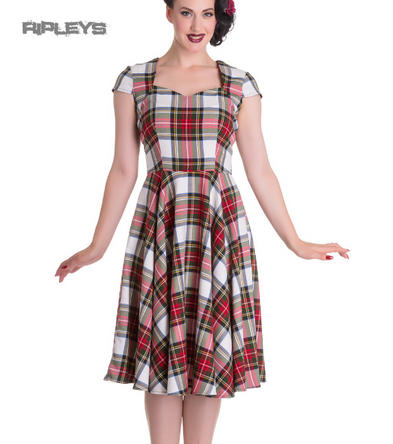 027c7a143655be Hell Bunny Pinup 50s Dress ABERDEEN Red/White Tartan Stewart All Sizes