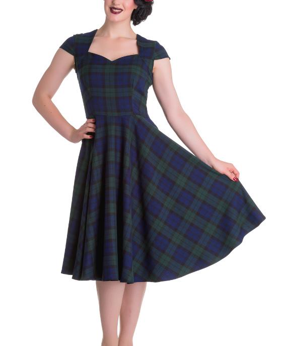 Hell-Bunny-Pinup-50s-Dress-ABERDEEN-Green-Blue-Tartan-Dublin thumbnail 3