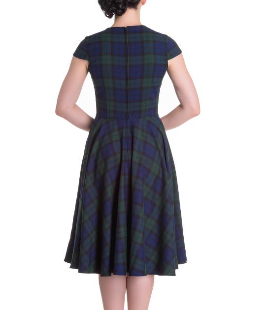 Hell-Bunny-Pinup-50s-Dress-ABERDEEN-Green-Blue-Tartan-Dublin thumbnail 17