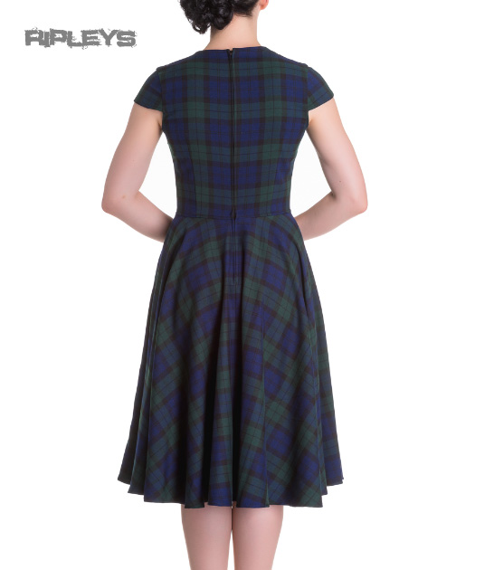 Hell-Bunny-Pinup-50s-Dress-ABERDEEN-Green-Blue-Tartan-Dublin thumbnail 16