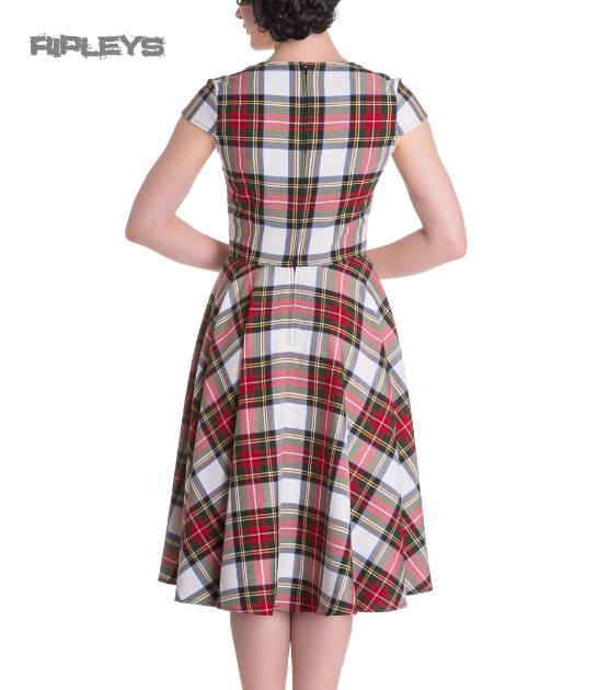 Hell-Bunny-Pinup-50s-Dress-ABERDEEN-Red-White-Tartan-Stewart-All-Sizes thumbnail 20