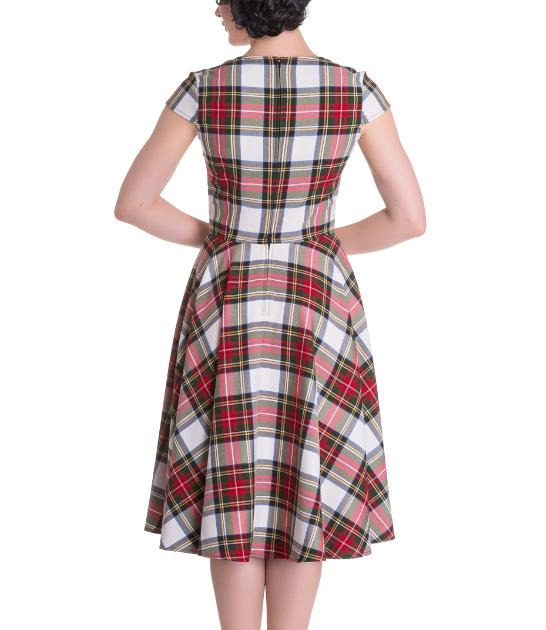 Hell-Bunny-Pinup-50s-Dress-ABERDEEN-Red-White-Tartan-Stewart-All-Sizes thumbnail 17