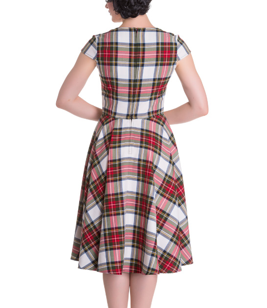 Hell-Bunny-Pinup-50s-Dress-ABERDEEN-Red-White-Tartan-Stewart-All-Sizes thumbnail 9
