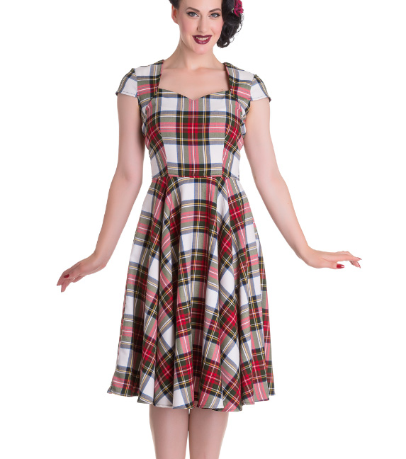 Hell-Bunny-Pinup-50s-Dress-ABERDEEN-Red-White-Tartan-Stewart-All-Sizes thumbnail 7