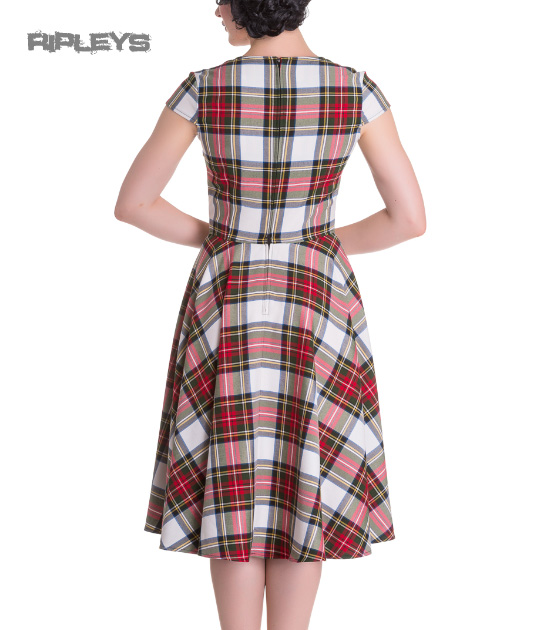 Hell-Bunny-Pinup-50s-Dress-ABERDEEN-Red-White-Tartan-Stewart-All-Sizes thumbnail 12