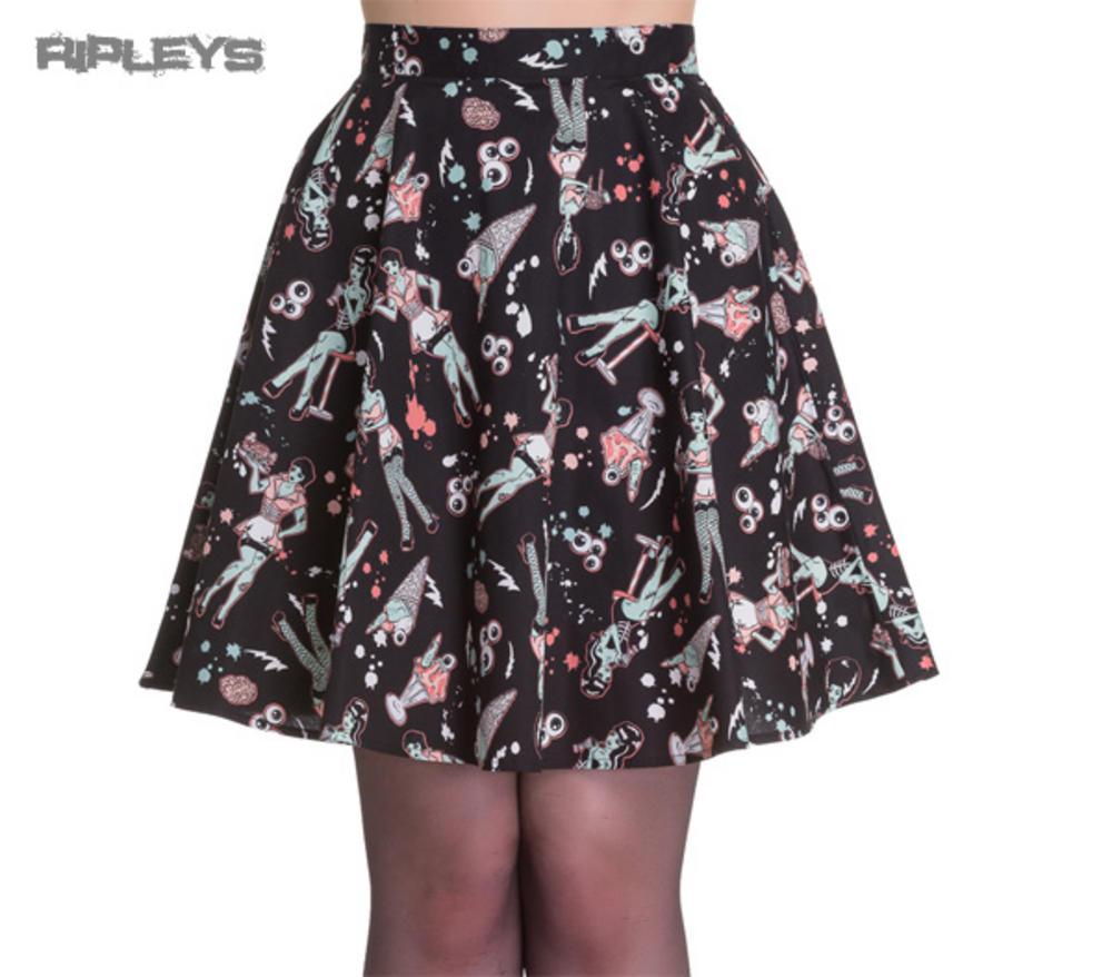 4d3e3a02e926c HELL BUNNY Skater Skirt ZOMBIE DINER Icecream Eyeballs Black All Sizes