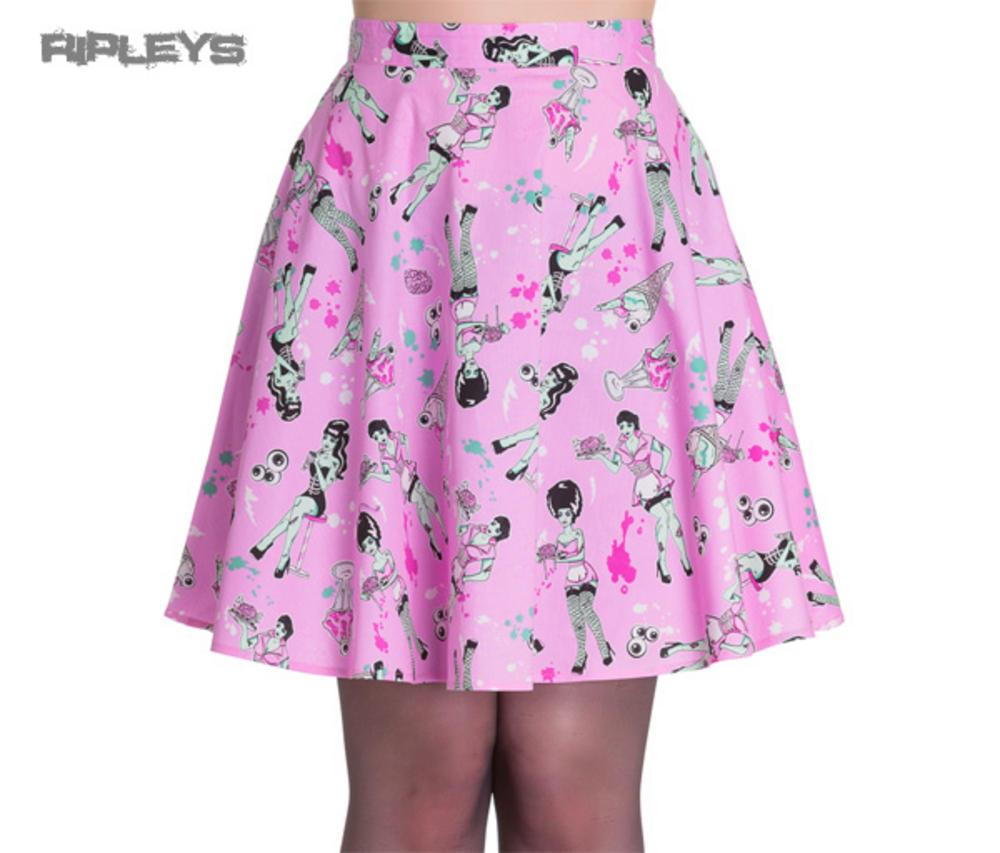 867f9d04aae20 HELL BUNNY Skater Skirt ZOMBIE DINER Icecream Eyeballs Pink All Sizes