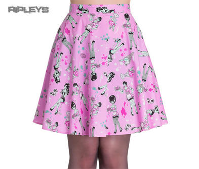HELL BUNNY Skater Skirt ZOMBIE DINER Icecream Eyeballs   Pink All Sizes