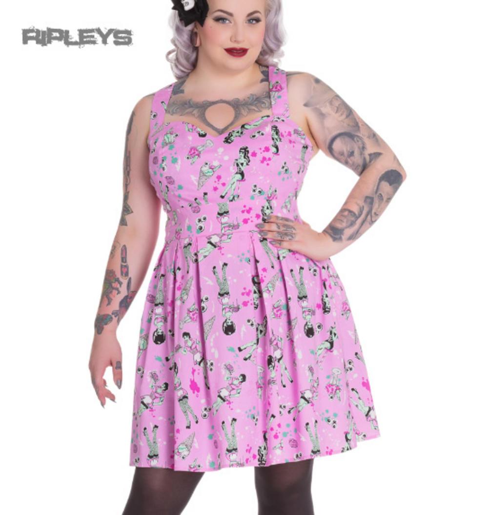 51ffa559a4cd3 HELL BUNNY Goth Mini Dress ICE SCREAM Zombie Eyeballs Pink All Sizes