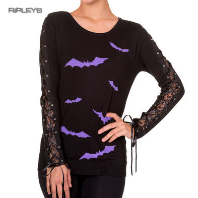 BANNED Goth Black Sweater   FRICTION Bats Jumper Lace Purple All Sizes