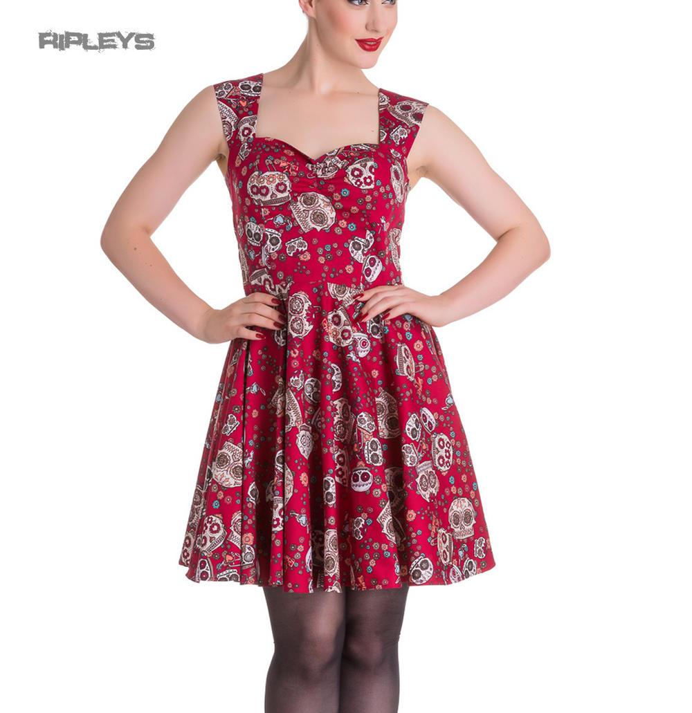 a3e66837f36 HELL BUNNY Mini Dress IDAHO Sugar Skulls Love Flowers Red All Sizes
