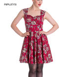 HELL BUNNY Mini Dress IDAHO Sugar Skulls Love Flowers   Red All Sizes Thumbnail 1