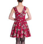 HELL BUNNY Mini Dress IDAHO Sugar Skulls Love Flowers   Red All Sizes Thumbnail 4