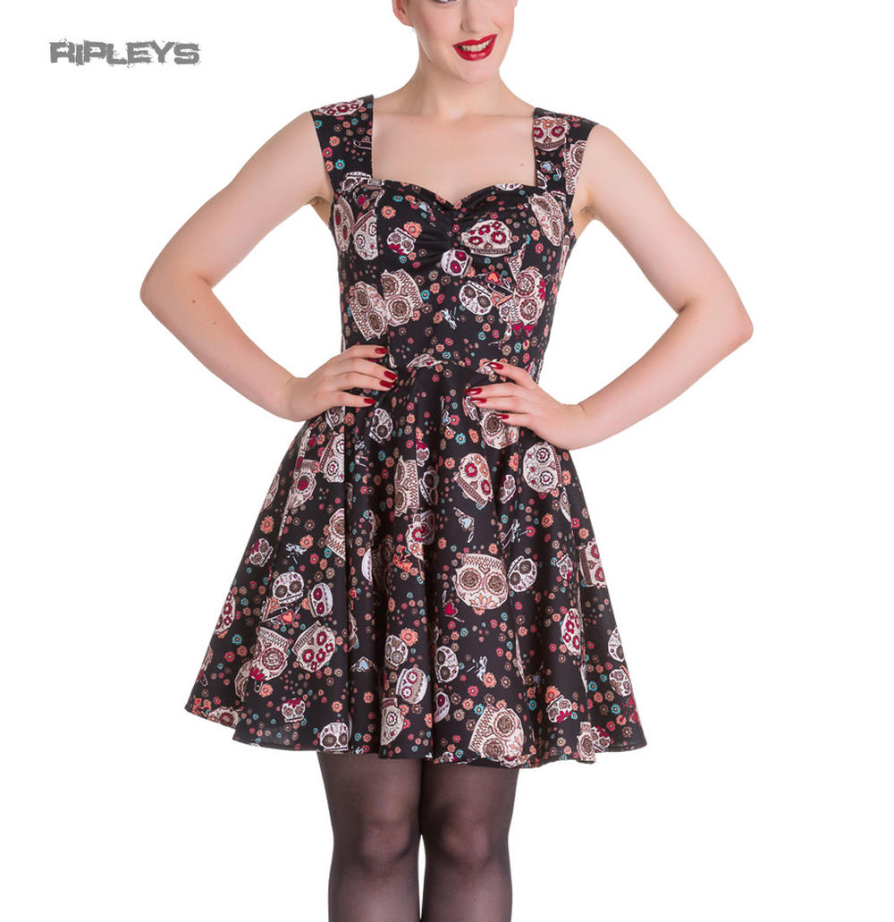 edcd783db HELL BUNNY Mini Dress IDAHO Sugar Skulls Love Flowers Black All Sizes