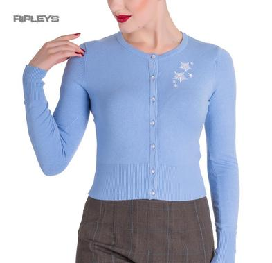 HELL BUNNY Christmas NOELLE Cardigan Top Snowflake   Blue All Sizes