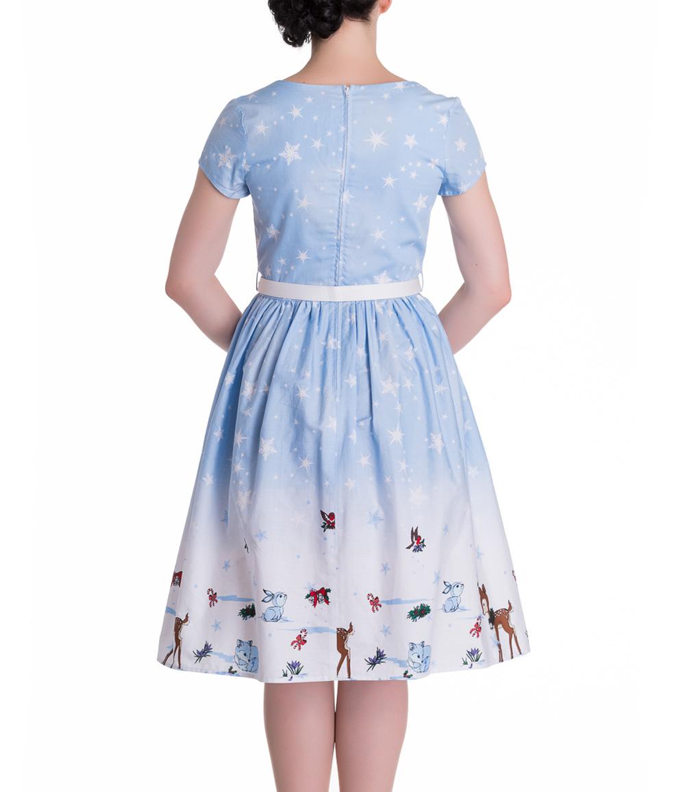 HELL-BUNNY-Christmas-50s-Dress-NOELLE-Snowflake-Blue-All-Sizes thumbnail 9