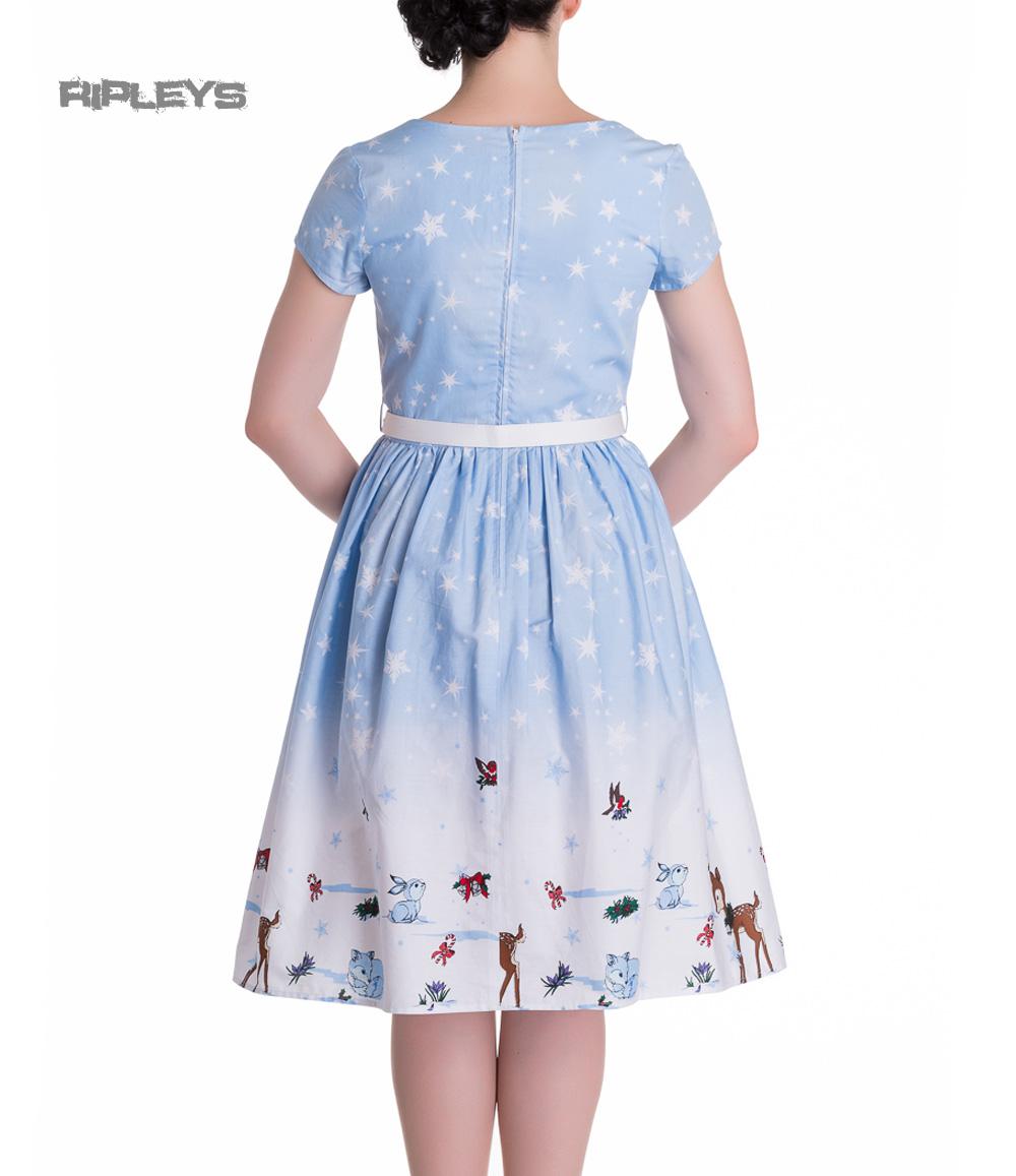 HELL-BUNNY-Christmas-50s-Dress-NOELLE-Snowflake-Blue-All-Sizes thumbnail 8