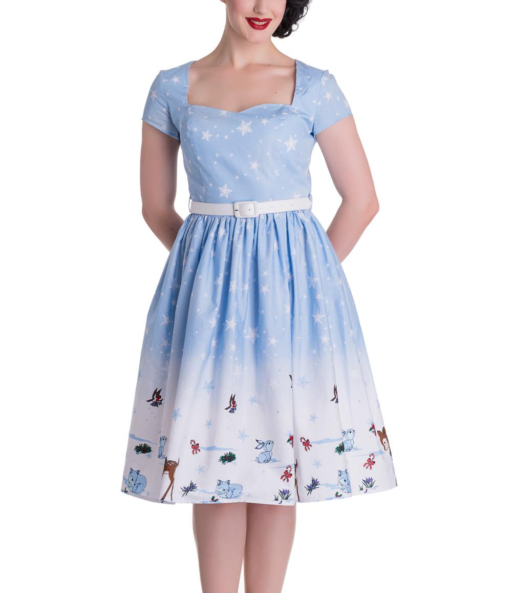 HELL-BUNNY-Christmas-50s-Dress-NOELLE-Snowflake-Blue-All-Sizes thumbnail 3