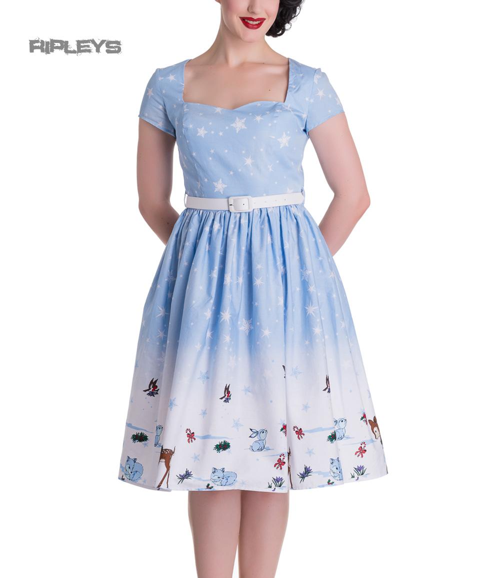 HELL-BUNNY-Christmas-50s-Dress-NOELLE-Snowflake-Blue-All-Sizes thumbnail 2