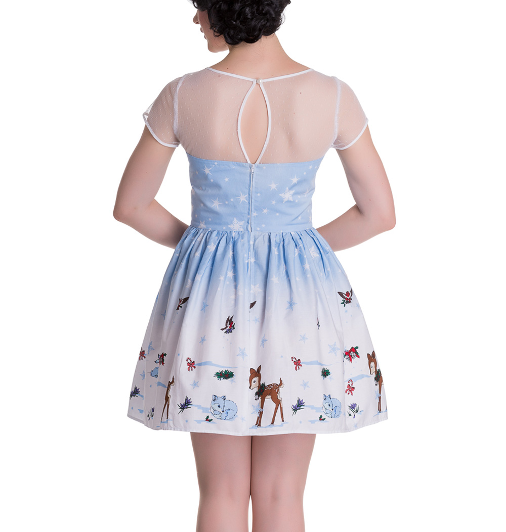 Hell-Bunny-Mini-Dress-NEVARA-Noelle-Snowflake-Christmas-Blue-All-Sizes thumbnail 5