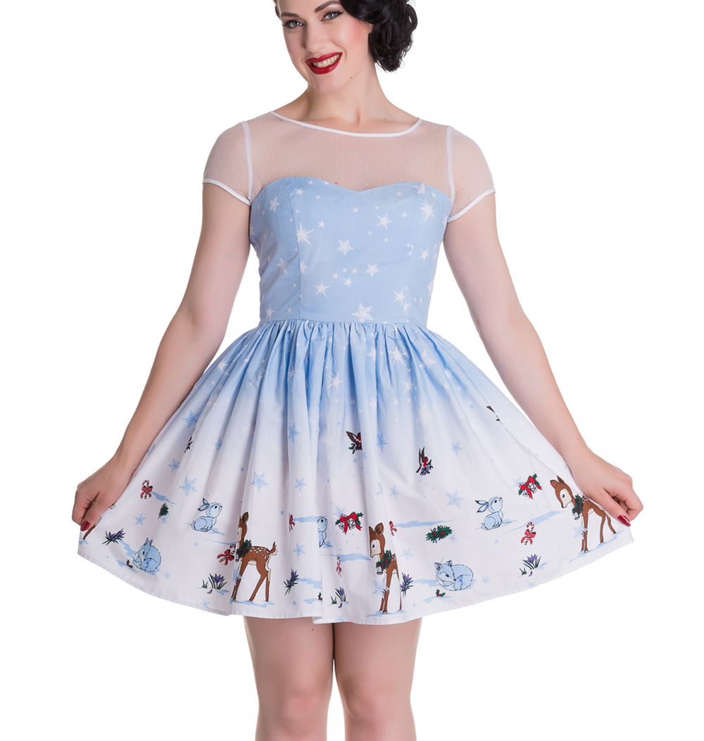 Hell-Bunny-Mini-Dress-NEVARA-Noelle-Snowflake-Christmas-Blue-All-Sizes thumbnail 3