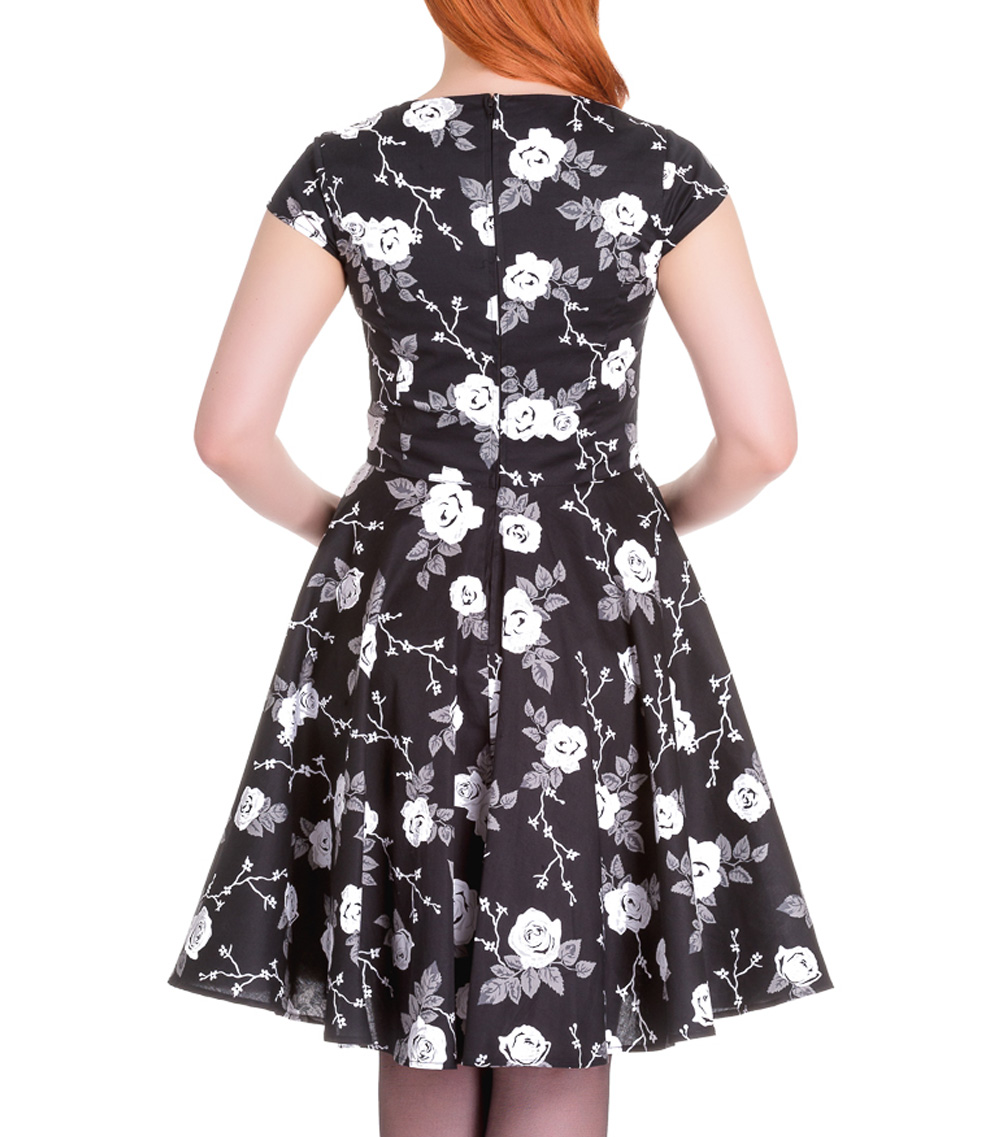 Hell-Bunny-Pinup-50s-Dress-NATALIA-Black-White-Roses-All-Sizes thumbnail 13