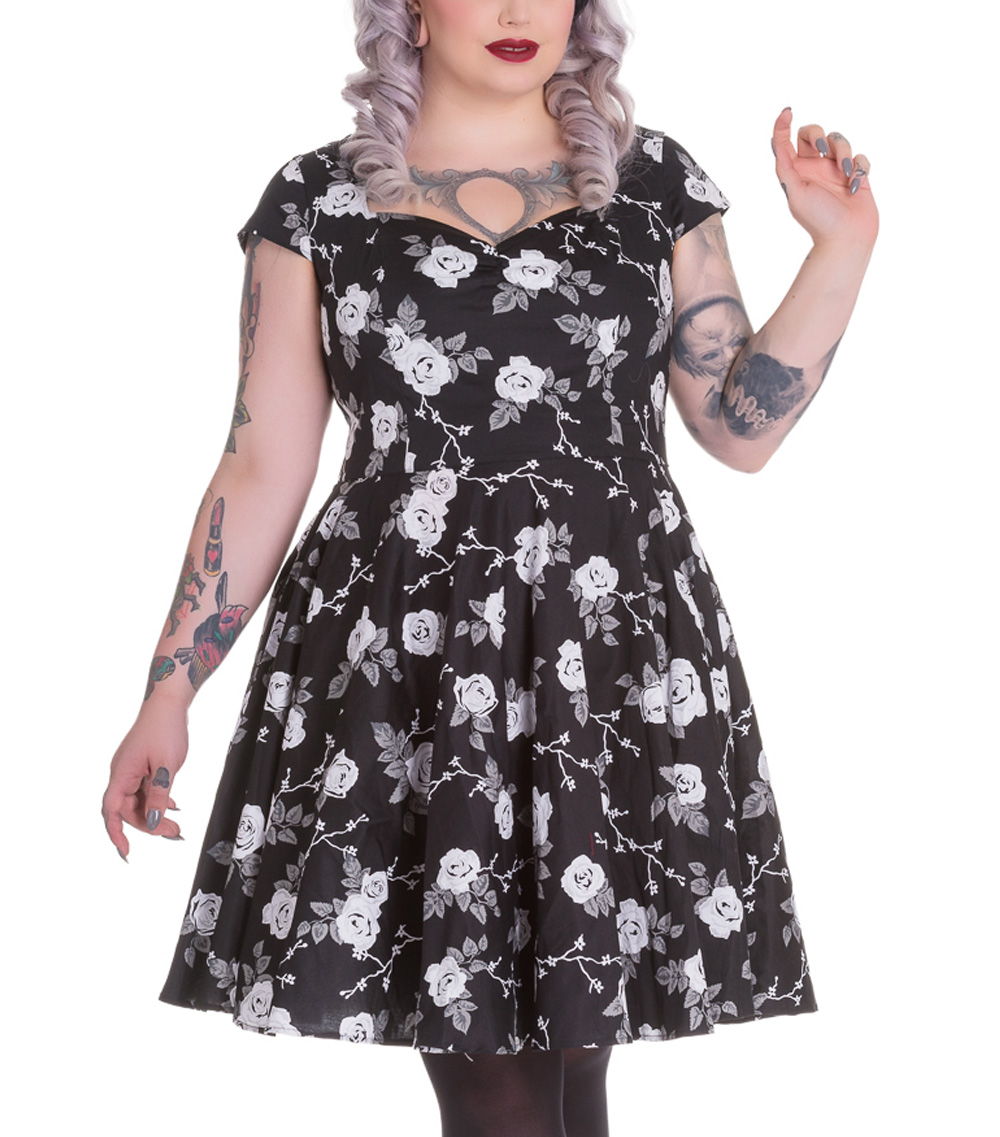 Hell-Bunny-Pinup-50s-Dress-NATALIA-Black-White-Roses-All-Sizes thumbnail 9