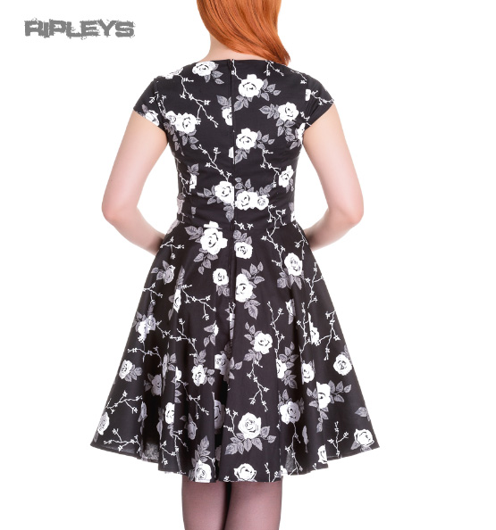Hell-Bunny-Pinup-50s-Dress-NATALIA-Black-White-Roses-All-Sizes thumbnail 6