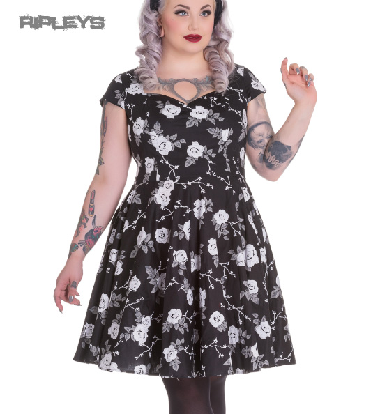 Hell-Bunny-Pinup-50s-Dress-NATALIA-Black-White-Roses-All-Sizes thumbnail 2
