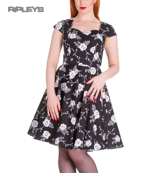Hell-Bunny-Pinup-50s-Dress-NATALIA-Black-White-Roses-All-Sizes thumbnail 4