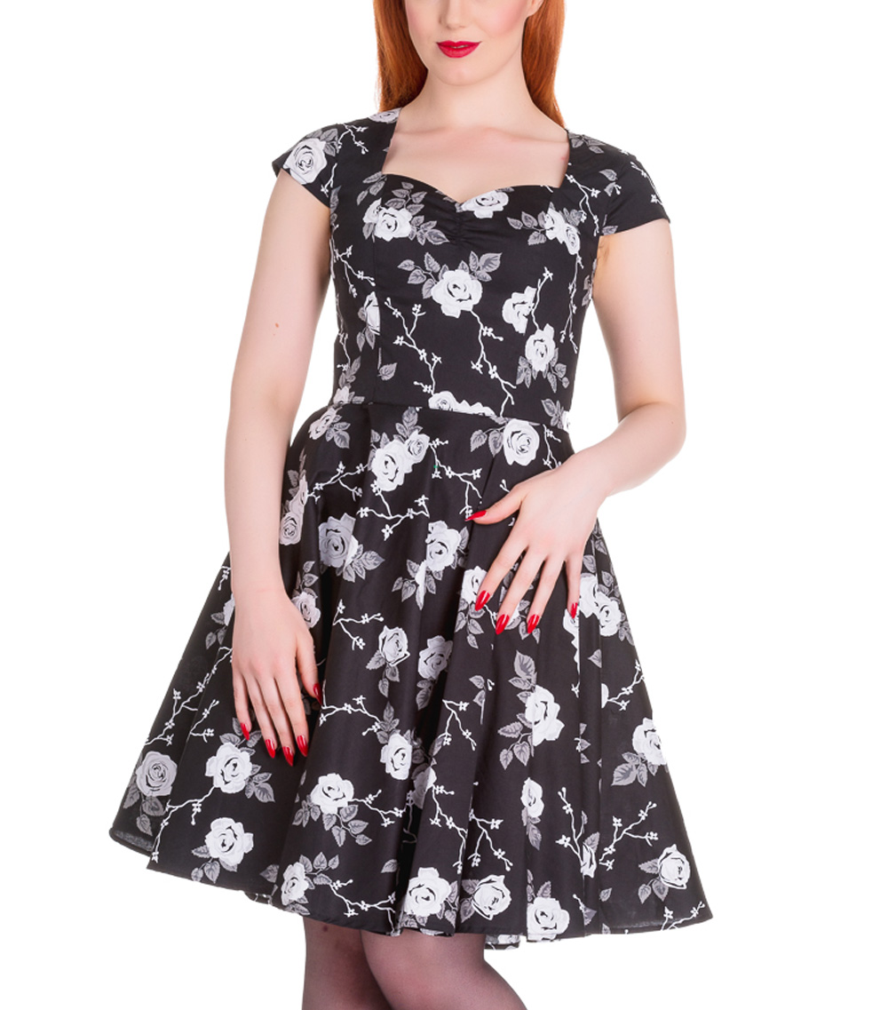 Hell-Bunny-Pinup-50s-Dress-NATALIA-Black-White-Roses-All-Sizes thumbnail 29