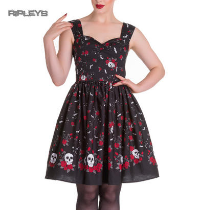 Hell Bunny Gothic Mid Length Dress ACONITE Skull Bats Stars All Sizes