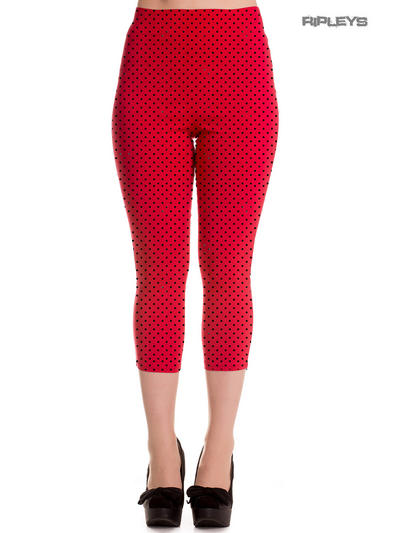 Hell Bunny 50s Pedal Pushers KAY Capris Capri Trousers RED Polka Dot All Sizes