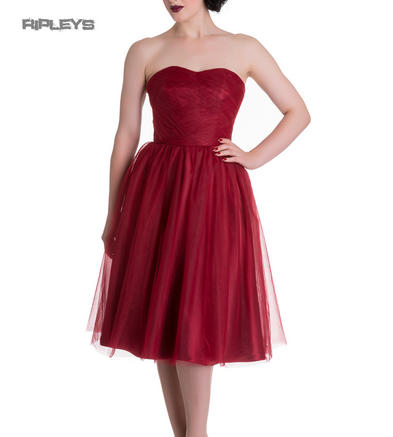 HELL BUNNY Strapless Party Prom Dress TAMARA Net   Red All Sizes