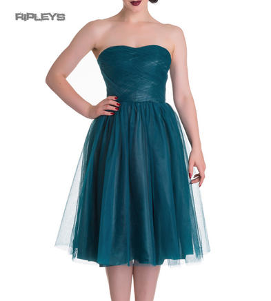 HELL BUNNY Strapless Party Prom Dress TAMARA Net   Teal Blue All Sizes