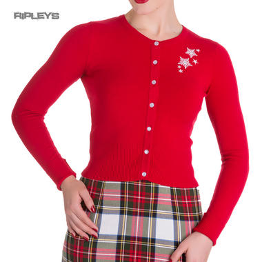 HELL BUNNY Christmas NOELLE Cardigan Top Snowflake   Red All Sizes